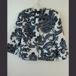Talbots Blue Paisley Blazer/Jacket Size 12
